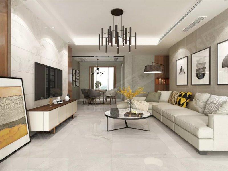 强辉系列现代简约风格客厅瓷砖装修效果图