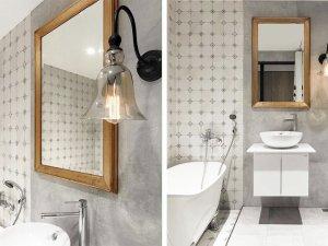 现代简约风卫浴瓷砖装修效果图 小户型卫浴瓷砖效果图
