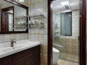 现代美式风格瓷砖装修效果图 干湿分离卫浴间瓷砖图片