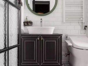 工业风卫浴间瓷砖装修效果图 花纹瓷砖效果图