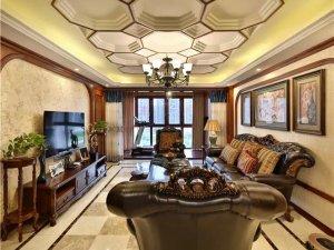 美式古典风格客厅瓷砖装修效果图 大理石客厅瓷砖图片