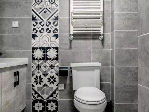北欧混搭风卫浴间瓷砖装修效果图 花纹瓷砖图片