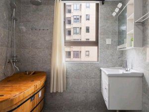 新中式风格卫浴间瓷砖装修效果图 卫浴拼花瓷砖效果图