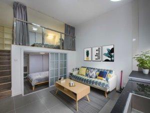 小户型loft灰色瓷砖家装效果图 北欧风瓷砖效果图