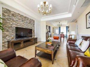 美式田园风格瓷砖图片 黄色客厅瓷砖装修效果图