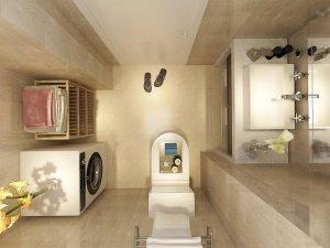 现代简约风格瓷砖图片 米色卫生间瓷砖装修效果图