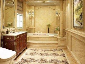 简约欧式风格瓷砖图片 卫生间扇形花样瓷砖效果图