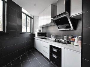 现代简约风格瓷砖图片 冷色调黑色厨房瓷砖效果图