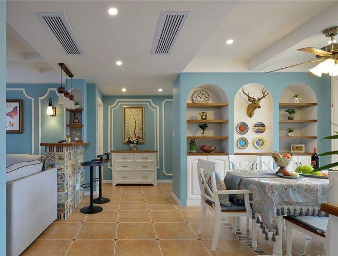 美式鄉村風格瓷磚圖片 廚房彩色墻磚裝修效果圖
