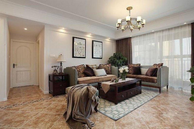 混搭风格瓷砖图片 客厅棕色地砖装修效果图
