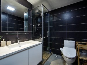 现代简约风格瓷砖图片 卫生间黑色墙砖装修效果图