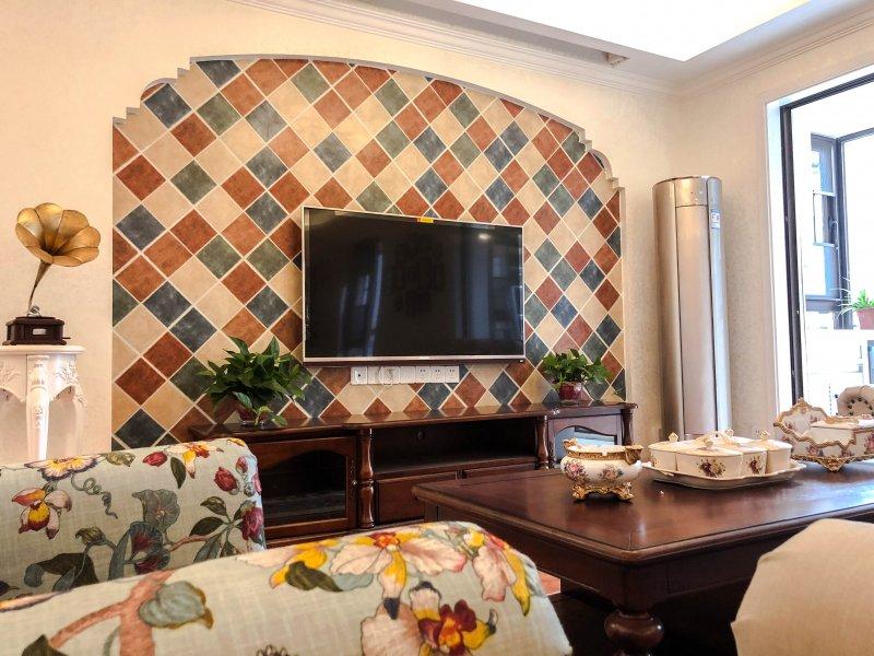 美式風格瓷磚圖片 彩色仿古磚電視背景墻裝修效果圖