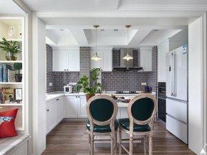 简约美式风格瓷砖图片 厨房灰色墙砖装修效果图