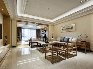 新中式风格瓷砖图片 客厅白色瓷砖装修效果图