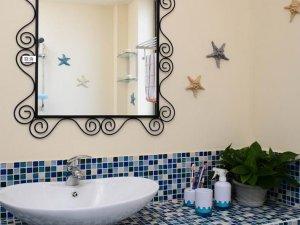 地中海风格瓷砖图片 卫生间蓝色马赛克瓷砖装修效果图