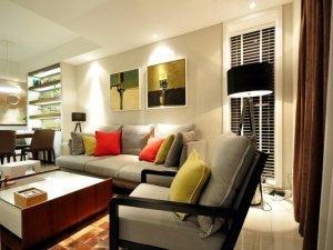 现代风瓷砖装修效果图  温馨客厅瓷砖装修图片