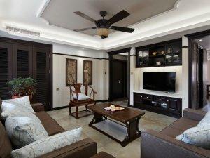 中式风格瓷砖图片 客厅黄色大理石瓷砖装修效果图