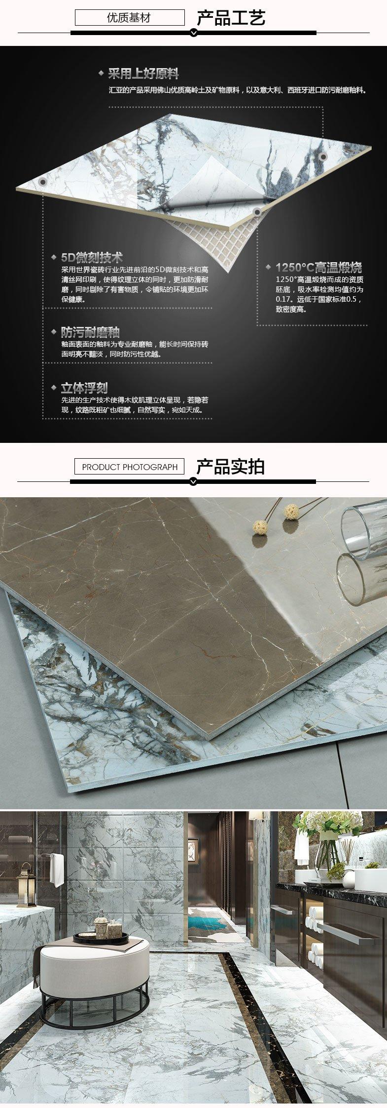 汇亚瓷砖通体大理石爵士蓝瓷砖产品及装修效果图