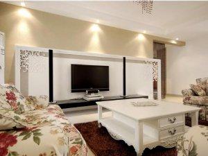 简欧风格瓷砖装修效果图 客厅白色瓷砖装修图片