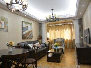 美式乡村风格瓷砖装修图片 客厅黄色瓷砖铺设装修效果图
