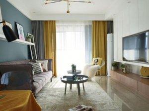 清新北欧风瓷砖装修图片 客厅米色瓷砖装修效果图