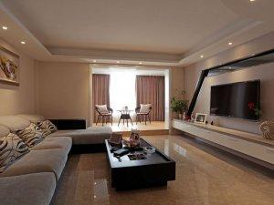 现代风格暖色系瓷砖装修图片 客厅黄色瓷砖装修效果图