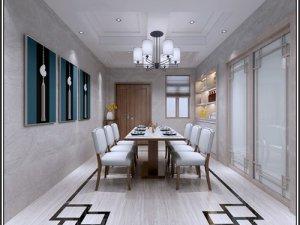 新中式风格瓷砖装修效果图 餐厅大理石灰白色木纹理瓷砖图片
