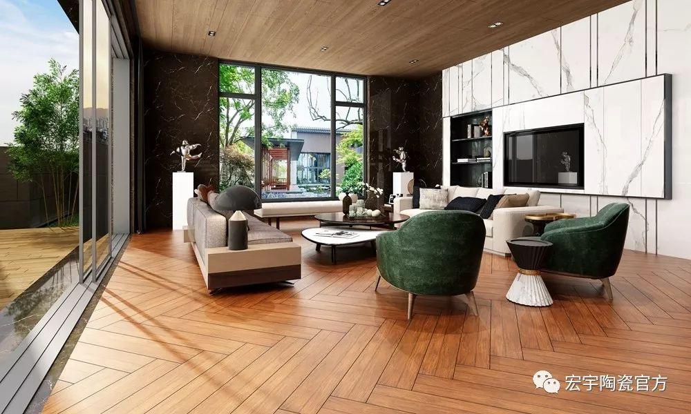 宏宇現代仿古磚原邊木紋北美紅橡 HCG915002空間效果