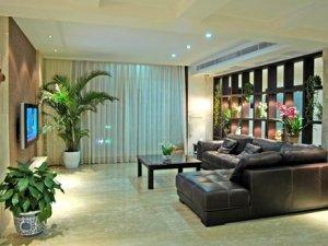 现代风格客厅瓷砖装修效果图 黄色瓷砖装修图片