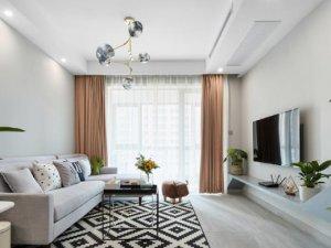 现代简约风格瓷砖装修图片 客厅浅灰色装修效果图