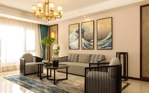 新中式風格瓷磚裝修圖片 客廳白色裝修效果圖