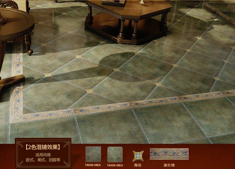 鹰牌陶瓷 客厅瓷砖 波西米亚 阳台地板砖 地中海田园仿古地砖效果图_4
