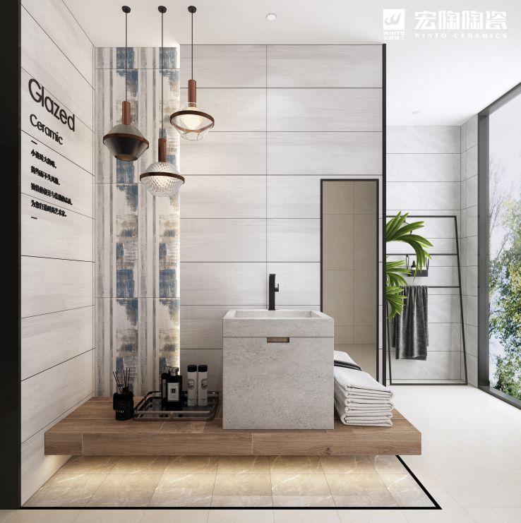 宏陶陶瓷 简约风格浴室瓷砖效果图_11