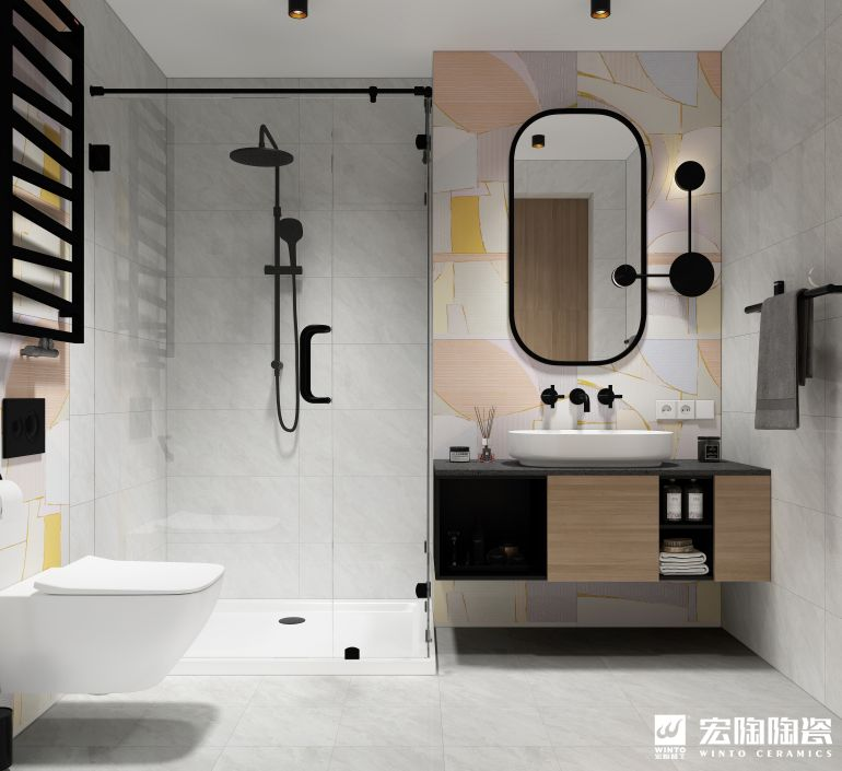 宏陶陶瓷 简约风格浴室瓷砖效果图_3